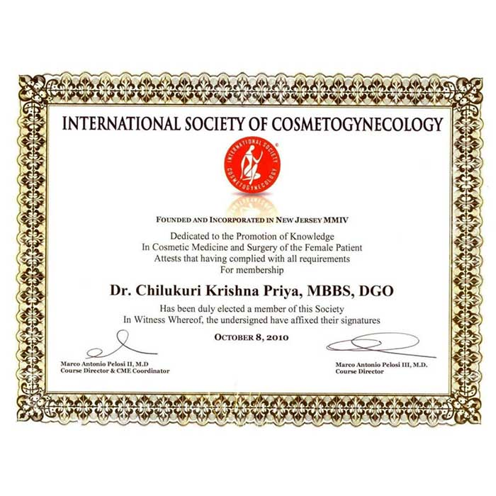 International society of Cosmetogynecolocy Certified Doctor
